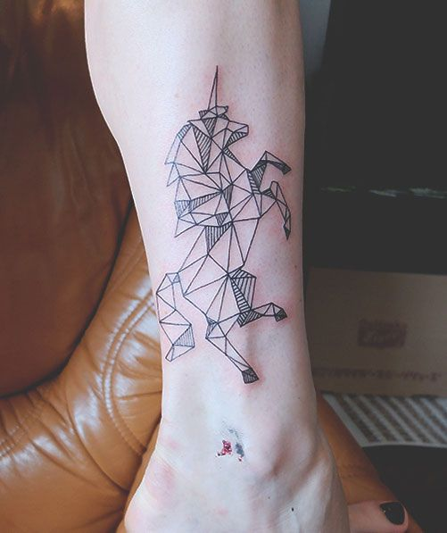 Black horse geometric tattoo