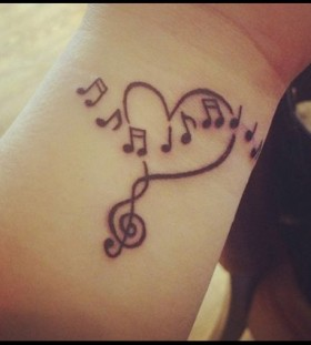 Heart cool music note tattoo