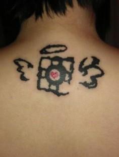 Portal cube tattoo