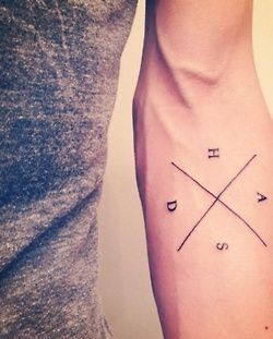 SImple letter's and geometric tattoo