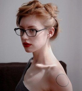 Girl with glass minimalistic style tattoo