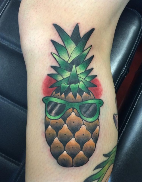 Pineapple with sunglasses tattoo