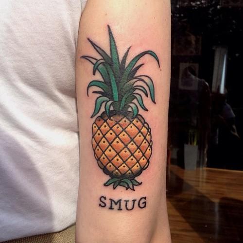 Smug pineapple tattoo