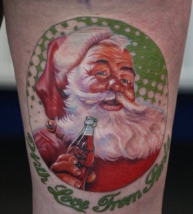 Christmas style coca cola tattoo