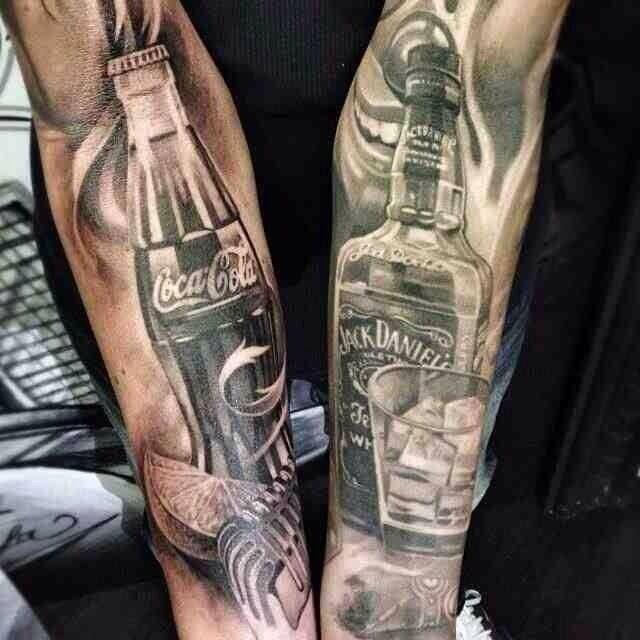 Jack Daniel and coca cola tattoo