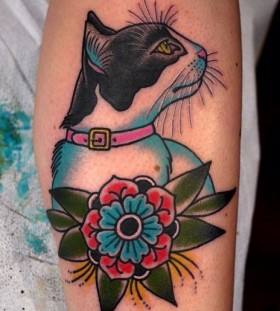old school tattoo cat and flower