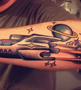 old school tattoo color rocket