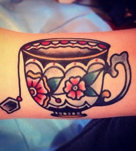old school teacup tattoo