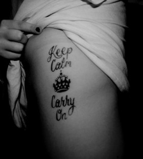 Girl's lovely keep calm tattoo