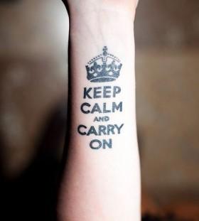 Hand's black keep calm tattoo