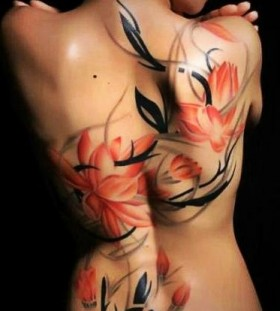 Best red floral tattoo