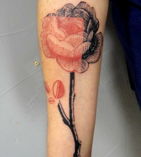 Black and red floral tattoo