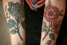 Blue and red lovely floral tattoo