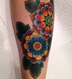 Blue style floral tattoo