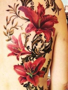 Red amazing floral tattoo