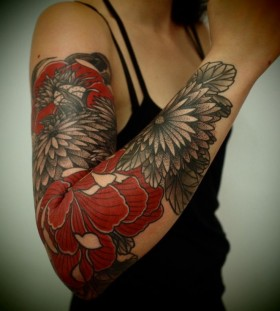Red cute arm floral tattoo