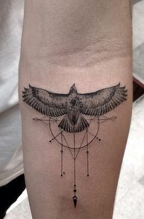 Los Angeles black bird minimalistic style tattoo