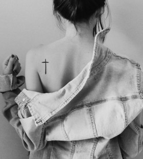 Shoulder cross minimalistic style tattoo