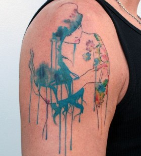 Watercolor girl minimalistic style tattoo