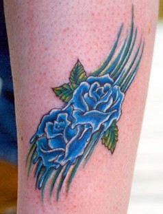 Blue pretty cornflower tattoo