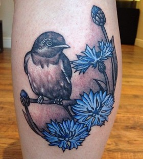Gorgeous blue cornflower tattoo