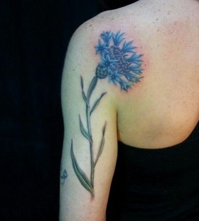 Pretty blue cornflower tattoo
