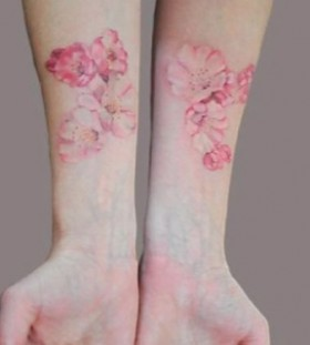 Real painted cornflower tattoo