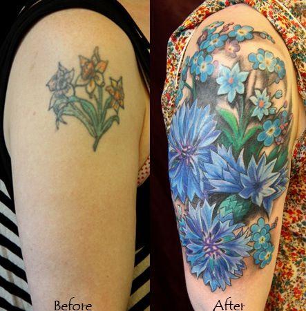 Simple blue cornflower tattoo