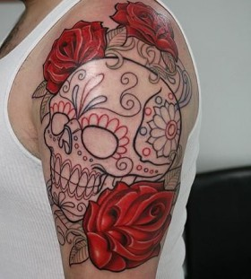 Adorable men's red skull tattoo
