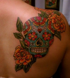 Best girl's back red skull tattoo