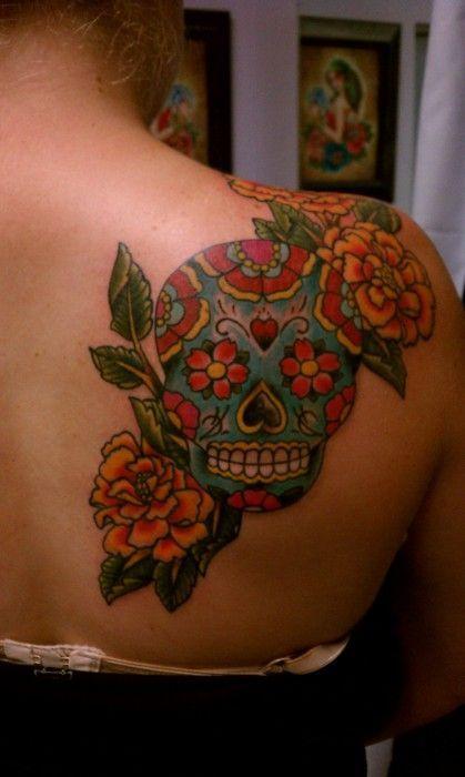 Best girl's back red skull tattoo