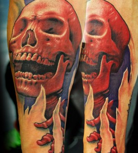 Gorgeous arms red skull tattoo