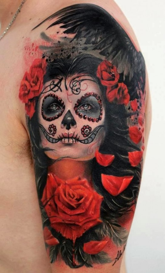 Great hairstyle red skull tattoo