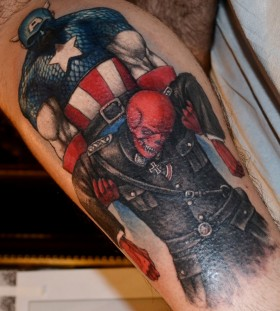 Herous black and red skull tattoo