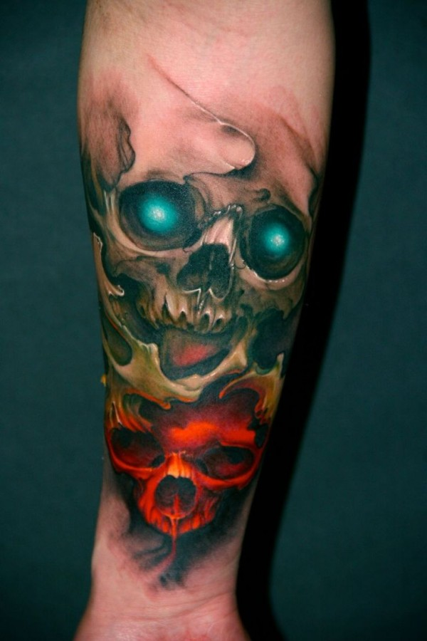 Scary looking red skull tattoo