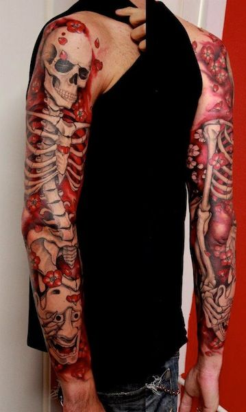 Skeleton arm's red skull tattoo