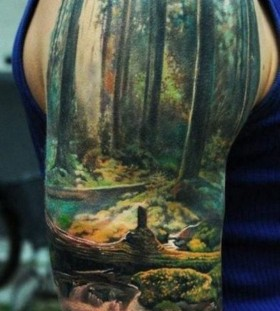 Forest and trees men's tattoo