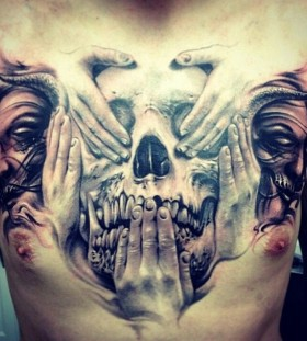 Skull and face's men's tattoo