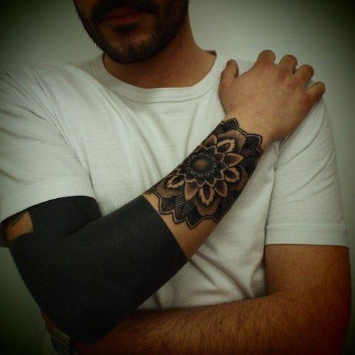 black tattoo for men flower