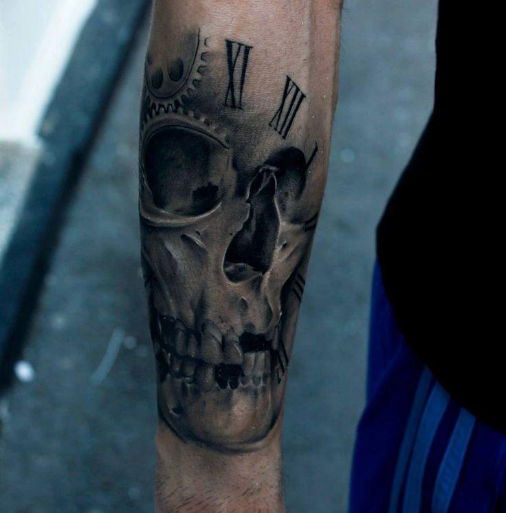 black tattoo for men skull and time