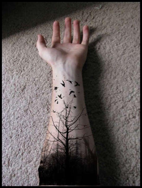 black tree tattoos for men