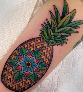 Amazing geometric pineapple tattoo