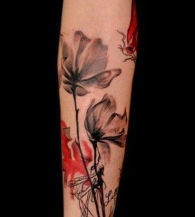 Black and red gorgeous tulip tattoo