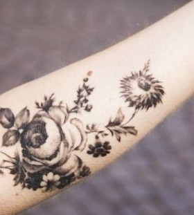 Black lovely flower's nature tattoos