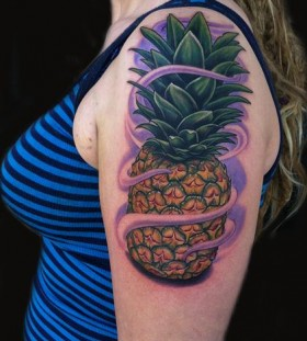 Cool pineapple tattoo on  arm