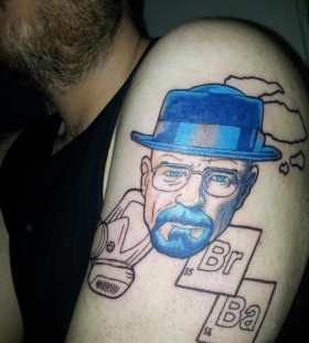 Heisenberg tattoo on shoulder