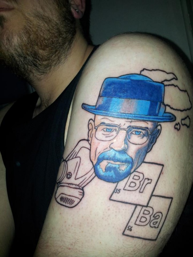 Heisenberg tattoo on shoulder