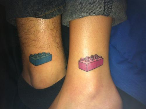 Lego brick tattoo idea for couple