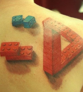 Lego bricks illusion tattoo