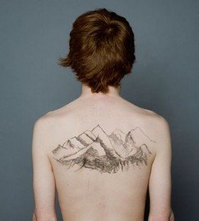 Men's back mountains nature tattoos